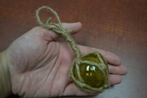 """REPRODUCTION YELLOW GLASS FLOAT BALL BUOY WITH FISHING NET 2"""" #F-369"""