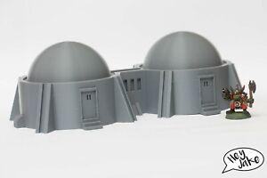 Wargaming Desert Terrain: Twin Hab Dome – Warhammer 40K, 30K, Star Wars Legion E
