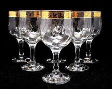 set of 6 italian crystal wine or water glasses 24k gold greek key trim 9 oz - Water Goblets