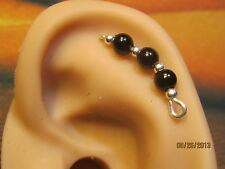 Filled Cartilage Ear Vines, Sweeps, Pins Pr Black Faux Pearl Sterling Silver