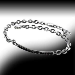 New Vero Vicenza Delicate Black Sapphire ID-Style Bracelet