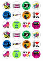 24 80's 1980s I Love Wafer / Rice Paper Cupcake Topper Edible Fairy Cake Toppers