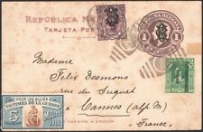 MEXICO, 1915. Villa Post Card H&G I4, 455, Charity Label 5c, Cannes, France
