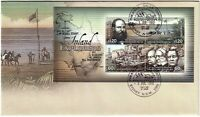 2012 FDC Australia. Inland Explorers. Mini-sheet. Various FDI postmarks