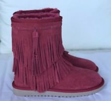 Koolaburra Ugg Womens Cable Winter Boot Suede Shearling Fringe