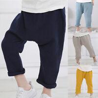 Kids Baby Casual Cotton Linen Elastic Waist Harem Pants Infant Boy Trousers