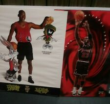 "Pair Of Vintage Michael Jordan Nike Space Jam Chicago Bulls Posters ""93/96 16x20"