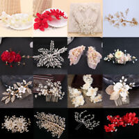 Exquisite Bridal Crystal Rhinestone Pearl Flower Wedding Hair Comb Hairpin Clip