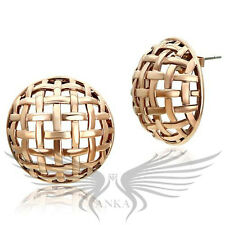 Stud Earrings No Stone Gl359 Beautiful Rose Gold Plated Mesh Style