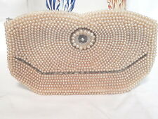Vintage Clutch Purse/Bag w/Faux Pearls/Beads Champagne Color FREE SHIPPING!!
