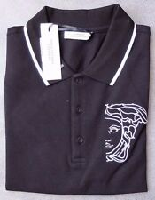Versace Collection Medusa head  embroidered logo black men's polo shirt size XL