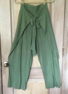 Free People Beach Get Away Set Tie Pant Crop Top Nubby Cotton Sage Green XS NWT