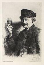 WILHELM LEIBL - Der Trinker (Bildnis des Wirts Rauecker) - Radierung 1874