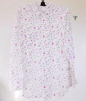 NWT $268~EQUIPMENT Signature Silk Shirt in Paris Print, Nature White