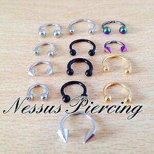 Horseshoe ring piercing surgical steel 316l titanium septum ear nose lip tragus