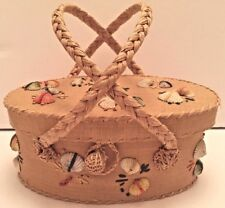 Vintage Vanity Basket Shells Makeup Case Made In Japan