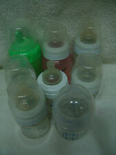 LOT OF 9 AVENT NATURAL BABY BOTTLES 9 & 4 OZ W/NIPPLES & CAPS & 2 SIPPY CUPS