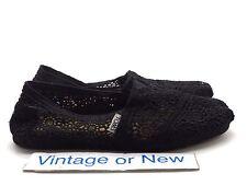 Women's Toms Classics Black Crochet Slip On Canvas Shoes sz 7.5