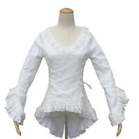 Abbey Victorian Vintage Women White Cotton Blouse Top Lace Theater Bodice