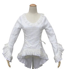 Abbey Victorian Vintage Women White Cotton Blouse Top Lace Theater Bodice