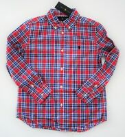 NEW Ralph Lauren Boys L/S Red Blue Cotton Poplin Plaid Shirt Sz 14/16 18/20 NWT