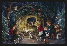 598-GC DEER RABBIT SQUIRREL Unused Vintage Christmas Postcard HALLMARK