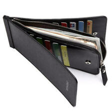 Men's PU Leather Zip Coin Long Wallet 26 Credit Card Holder Purse Clutch Handbag