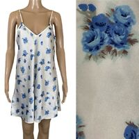 VTG NICOLETTE Nightgown Chemise Slip Dress Blue Roses USA Made Sz M/L