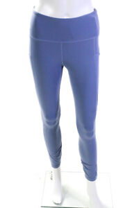 Varley Womens Mesh Mid Rise Athletic Leggings Blue Size Small