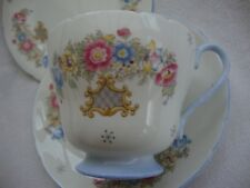 VINTAGE SHELLY 2323 TRIO TEA CUP SAUCER & PLATE SHERATON & SMALL GREY CRYSTALS