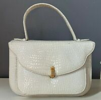 VTG 60'S SAKS FIFTH AVENUE*WHITE FAUX CROCODILE LEATHER SM. CLUTCH ATTACHE PURSE