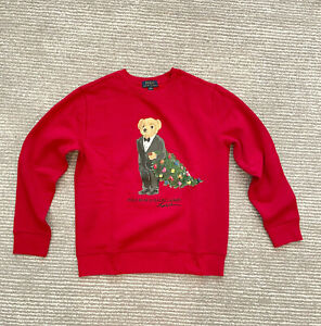 NWT Polo Ralph Lauren Youth Suit Bear Sweatshirt Christmas Tree Holiday Red SML