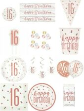 ROSE GOLD  AGE 16 HAPPY BIRTHDAY PARTY TABLEWARE DECORATIONS HOLOGRAPHIC UNIQUE