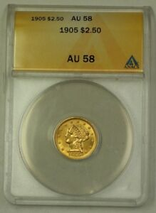 1905 $2.50 Liberty Quarter Eagle Gold Coin ANACS AU-58 Great Luster (Better)