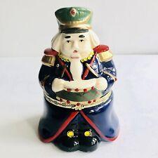 "Mr. Christmas Hinged Porcelain Animated Blue Nutcracker 7"" Music Box Ornament"