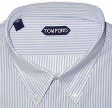 $730 NEW TOM FORD WHITE & BLUE BENGAL STRIPE HAND MADE DRESS SHIRT EU 43 17