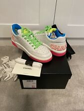 CHANEL SS20 Neon & White Leather Low Trainers. Size 37.5. BNIB