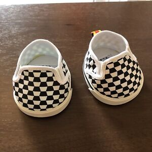 Build A Bear Sneakers Shoes Vans Style BAB Plush Accessories Black White Check