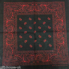 Black And Red Paisley Bandana Bandanna Head Wear Bands Scarf Neck Wrist Wrap