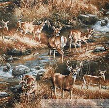 BonEful Fabric Cotton Quilt VTG Brown Green Cabin Deer Scenic Buck Hunt FQ SCRAP