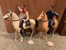 2 Vintage 1950's Hartland Mini Roy Rogers & Trigger + Paladin Western Figure Lot