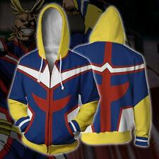 All Might Hoodie bnha Adult Unisex Sweatshirt Zip-up Hooded Coat Blue Jacket