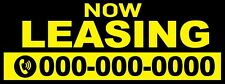 Real Estate Banner Now Leasing Personalized Phone Number Full Vinyl 3' x 8'