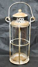 Vintage Shabby Chic Metal Glass Hanging or Table Lantern for Candle, Night Light