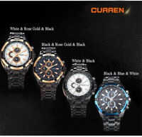 Fashion Men Sport Stainless Steel Analog Quartz Wrist Watch Business