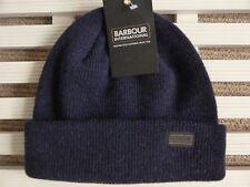 BARBOUR Internacional Azul Marino Lana watchcap Beanie Sombrero toque Hecho en Escocia
