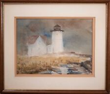 Antique American Lighthouse Watercolor & House, Signed & Beautiful! NE Maine?