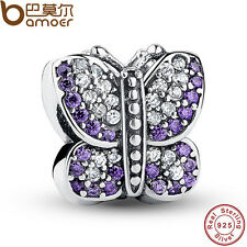 Purple Butterfly Authentic S925 Sterling Silver Charms With Crystal Fit Bracelet