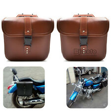 2pcs Universal Motorcycle Saddle Bags Side Storage Tool Pouches For Harley Brown
