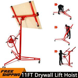 11Ft Drywall Lift Hoist Plaster Board Lifter Panel Sheet Caster Heavy Duty Tool